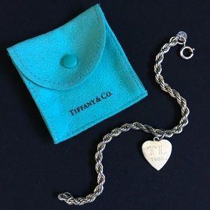 VTG Engraved Tiffany silver Rope Bracelet & Charm